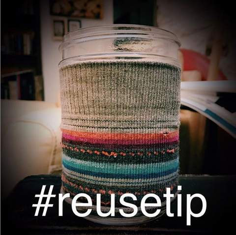 adaptive reuse upcycled sock as mason jar cozy