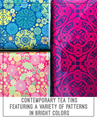 Contemporary tea tins featuring a range of brightly colored patterns