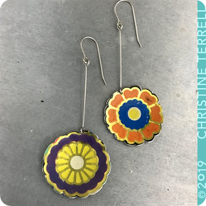 Funky Flowers Tin Earrings by Christine Terrell for adaptive reuse jewelry
