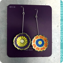 Load image into Gallery viewer, Funky Flowers Tin Earrings by Christine Terrell for adaptive reuse jewelry