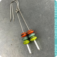 Load image into Gallery viewer, Persimmon, Aqua & Chartreuse Tiny Macarons Tin Earrings