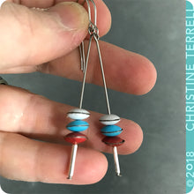 Load image into Gallery viewer, White, Aqua, Red Tiny Macarons Tin Earrings