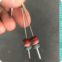 Load image into Gallery viewer, Scarlet, Pink & Aqua Tiny Macarons Tin Earrings