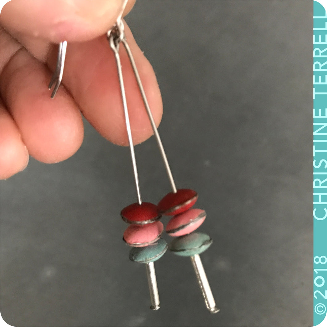 Scarlet, Pink & Aqua Tiny Macarons Tin Earrings
