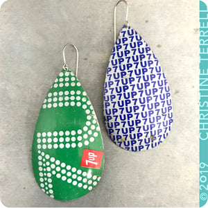 Vintage 7Up Tin Teardrop Earrings