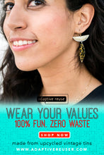 Load image into Gallery viewer, Golden Sunflowers and Swirls on Black Zero Waste Tin Earrings Ethical Jewelry
