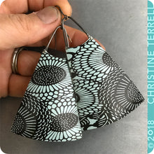 Load image into Gallery viewer, Pale Aqua & Chocolate Sunflowers Upcycled Long Fan Tin Earrings