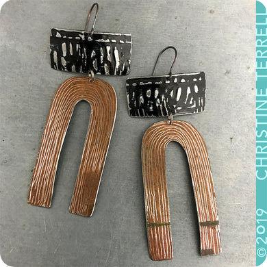 Textured Black & Copper Etched Horseshoe Zero Waste Tin Earrings