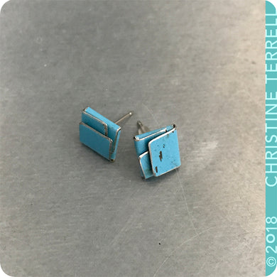 True Blue Folded Square Upcycled Tin Post Earrings