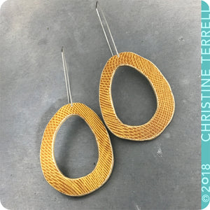 Yellow Ochre Organic Ovals Book Cover Earrings by Christine Terrell for Ex Libris Jewelry