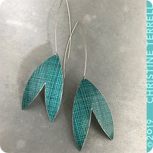 Load image into Gallery viewer, Teal Crosshatch Upcycled Tin Earrings