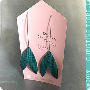 Teal Crosshatch Upcycled Tin Earrings