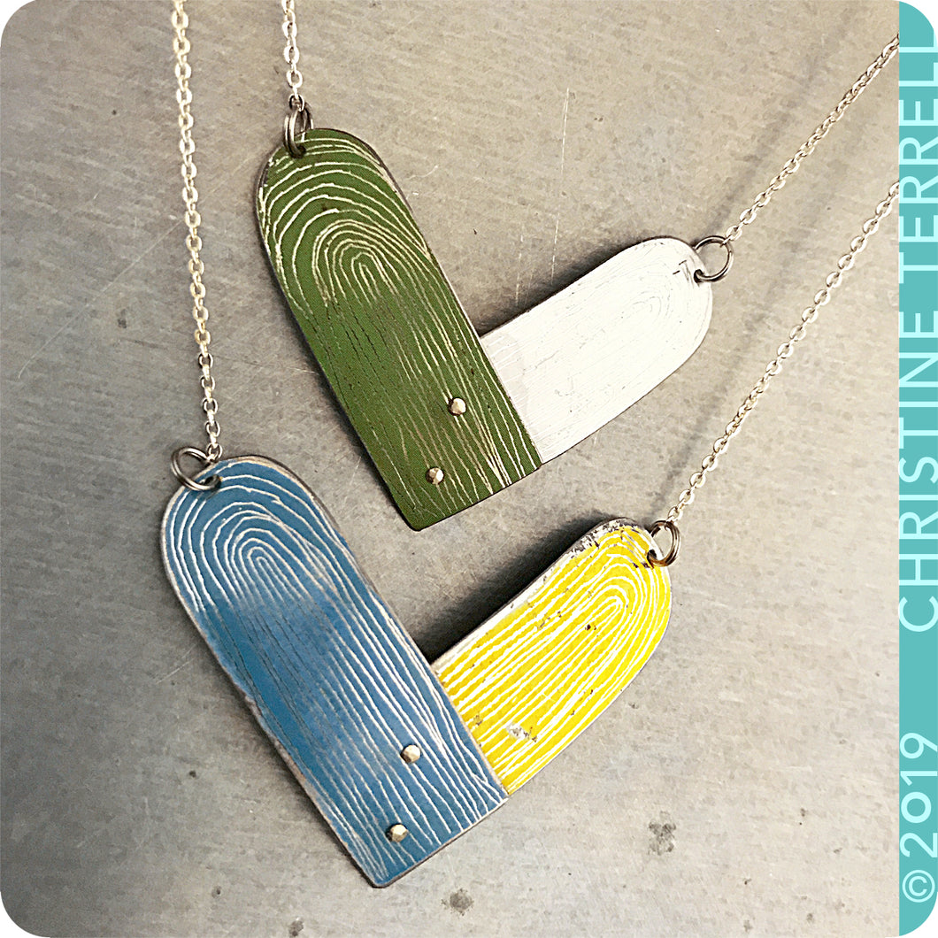 Etched Heart Upcycled Tin Necklace by Christine Terrell for adaptive reuse jewelry