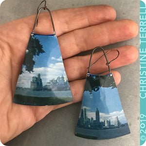 Sea to Shining Sea Upcycled Vintage Tin Earrings