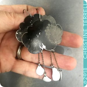Gray Rain Clouds 2 Drops Upcycled Tin Earrings