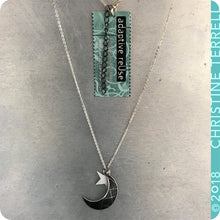 Load image into Gallery viewer, Crescent Moon and Star Upcycled Tin Necklace by Christine Terrell for adaptive reuse jewelry