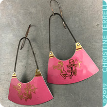 Load image into Gallery viewer, Pink Cupid Upcycled Tin Earrings by Christine Terrell for adaptive reuse jewelry