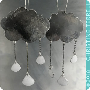 Gray Rain Clouds 3 Drops Upcycled Tin Earrings