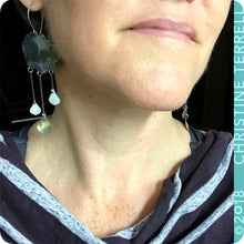 Load image into Gallery viewer, Gray Rain Clouds 3 Drops Upcycled Tin Earrings