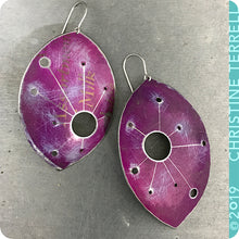 Load image into Gallery viewer, Purple Star Map Upcycled Tin Earrings