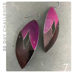 Pink and Maroon Upcycled Tin Earring by Christine Terrell for adaptive reuse jewelry