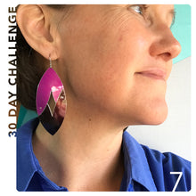 Load image into Gallery viewer, Pink and Maroon Upcycled Tin Earring by Christine Terrell for adaptive reuse jewelry