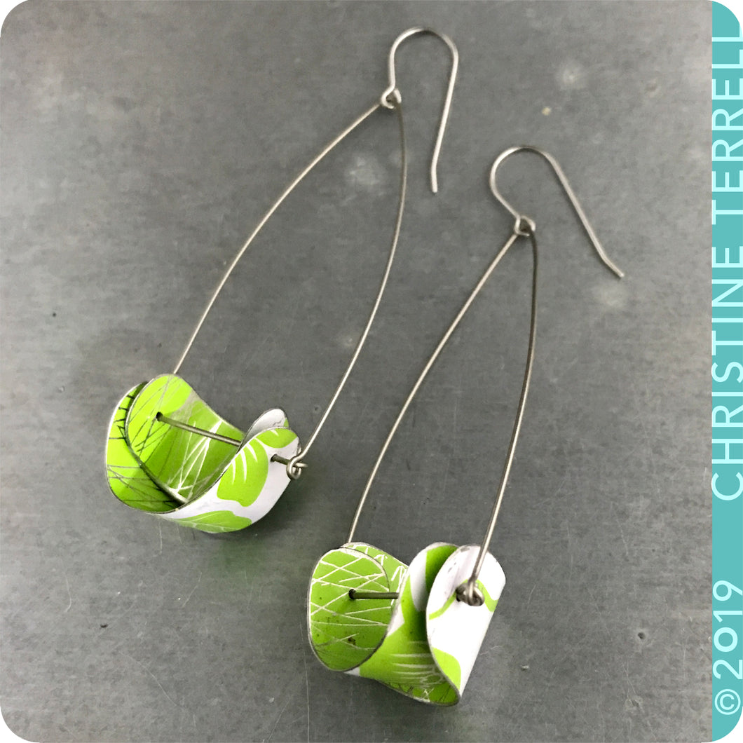 Upcycled Tin Earrings by Christine Terrell for adaptive reuse jewelry