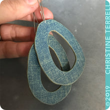 Load image into Gallery viewer, Blue Denim Zero Waste Organic Ovals Book Cover Earrings