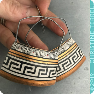 Big Copper, Black & White Etruscan Zero Waste Tin Earrings