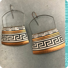 Load image into Gallery viewer, Big Copper, Black & White Etruscan Zero Waste Tin Earrings