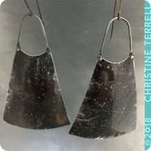Load image into Gallery viewer, Fire Polished Upcycled Long Fan Tin Earrings