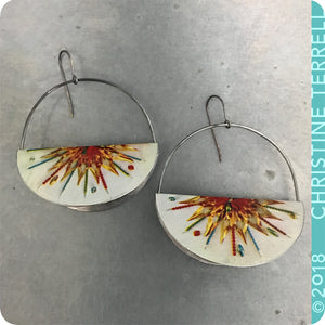 Festive Holiday Half Moon Saddle Zero Waste Tin Earrings