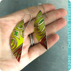Bright Yellow Leaf Upcycled Tin Earrings
