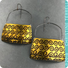 Load image into Gallery viewer, Burgundy Waves on Gold Upcycled Tin Earrings