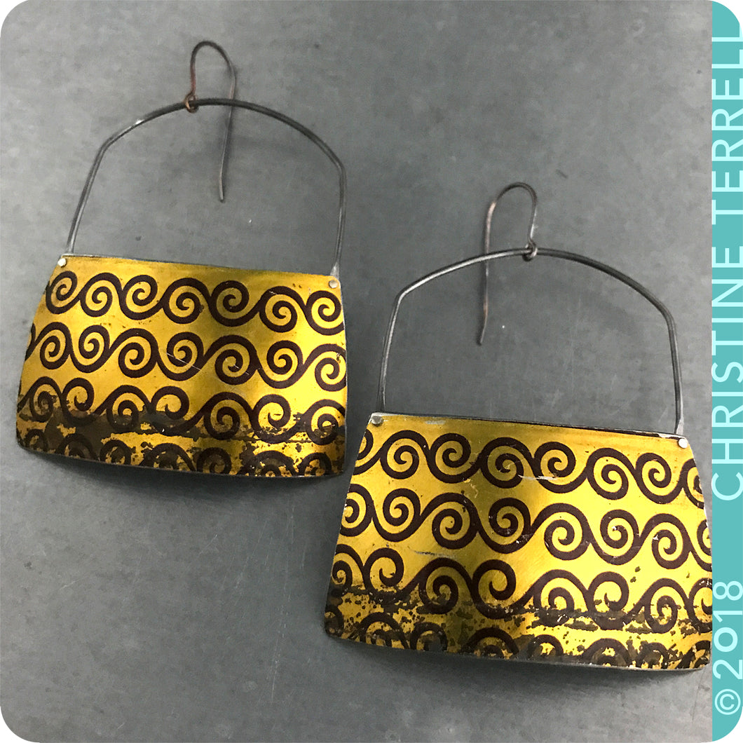 Big Golden Zero Waste Tin Earrings by Christine Terrell for adaptive reuse jewelry