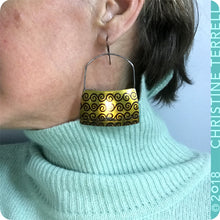 Load image into Gallery viewer, Big Golden Zero Waste Tin Earrings by Christine Terrell for adaptive reuse jewelry