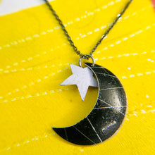 Load image into Gallery viewer, Black Crescent Moon & White Star Tin Recycled Necklace Tin Anniversary Gift