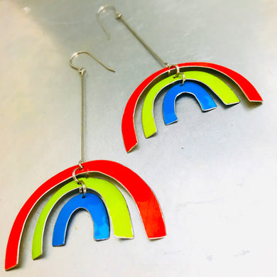Bright Rainbows Upcycled Tin Earrings
