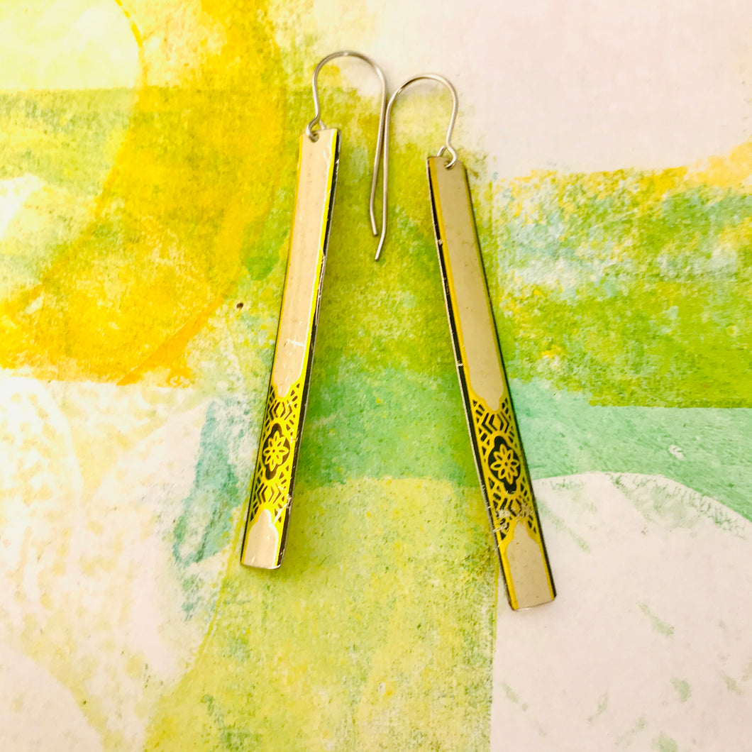 Cream and Golden Filigree Long Narrow Tin Earrings