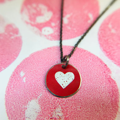 Tiny Etched Silver Heart on Red Upcycled Tin Necklace