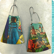 Load image into Gallery viewer, Lady in Blue Upcycled Vintage Tin Earrings 40th Birthday Gift