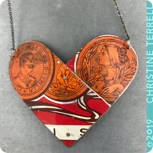 Load image into Gallery viewer, Upcyled Tin Heart Pendant by Christine Terrell for adaptive reuse jewelry