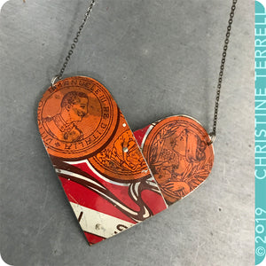 Upcyled Tin Heart Pendant by Christine Terrell for adaptive reuse jewelry