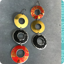 Load image into Gallery viewer, Golden, Scarlet, Black Rings Zero Waste Tin Earrings Ethical Anniersary Gift