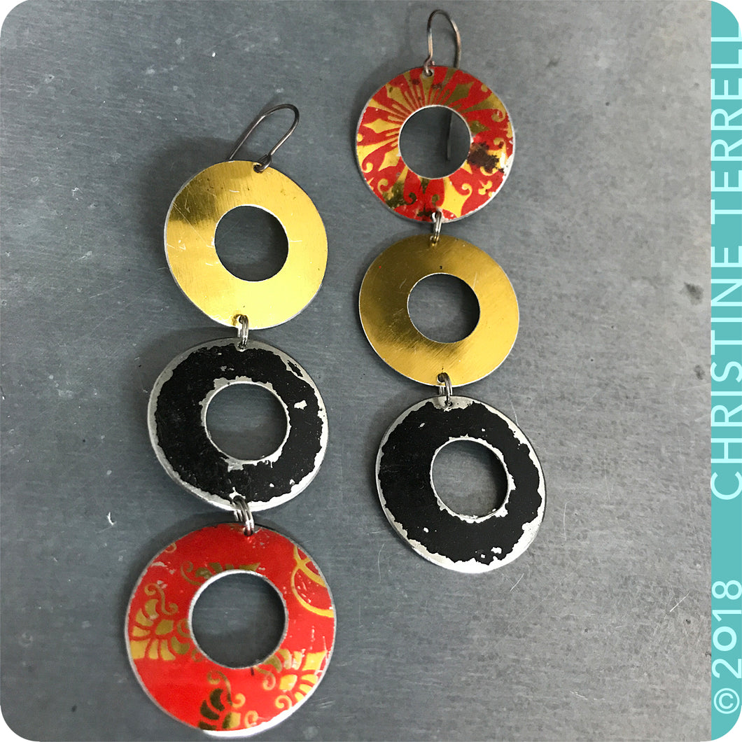 Golden, Scarlet, Black Rings Zero Waste Tin Earrings Ethical Anniersary Gift