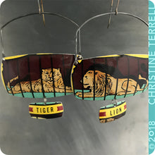 Load image into Gallery viewer, Lion & Tiger Upcycled Tin Large Earrings