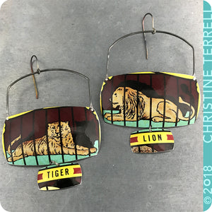 Lion & Tiger Upcycled Tin Large Earrings