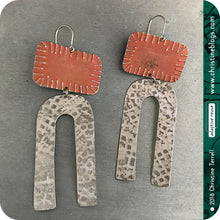 Load image into Gallery viewer, Zero Waste Rusty & White Rustic Magnet Tin Earrings