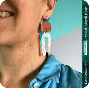 Orange Polka Dots & White Horseshoe Tin Earrings