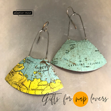 Arctic Circle & Islands Vintage Globe Upcycled Fan Tin Earrings